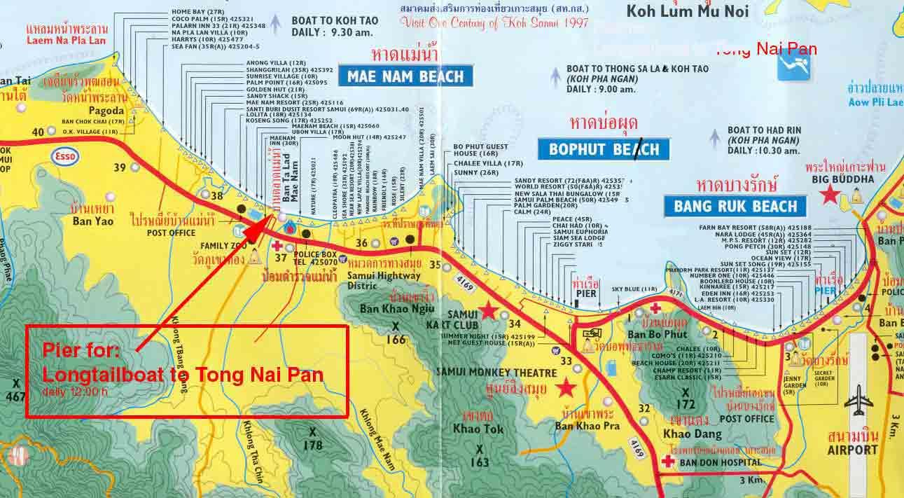 Таиланд | Карта отелей Самуи