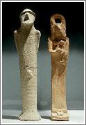 Статуэтки мужчины и женщины, найденные на раскопках древнего города