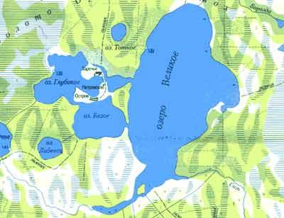 Где находится озеро большое на карте